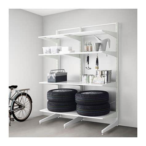 Algot post foot shelves metal white 152x67x194 cm ikea