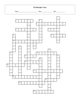 25 Question Harry Potter Sorcerer's Stone Crossword with