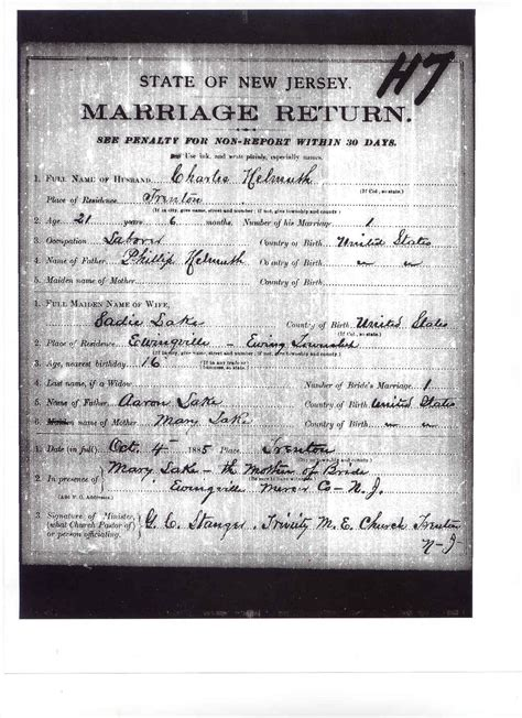 Jersey Marriage Records Lakes Of Hunterdon County New Jersey