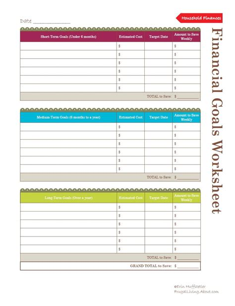 Financial Worksheets by Use This Financial Goals Worksheet