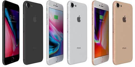 3d apple iphone 8 colors model turbosquid 1208738