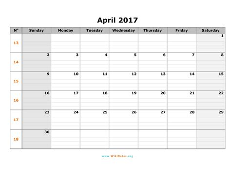 Calendar 2017 Template With Holidays April 2017 Calendar Printable With Holidays Weekly