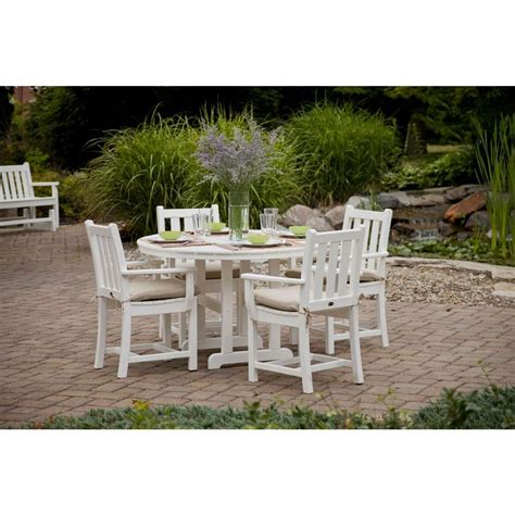 polywood traditional garden white 5 patio dining set