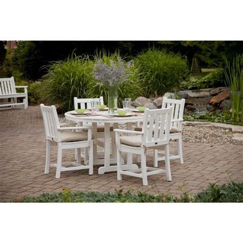 Polywood Traditional Garden White 5 Piece Patio Dining Set