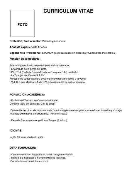 Modelo Y Estructura De Curriculum Vitae Ejemplo De Un Curriculum Vitae
