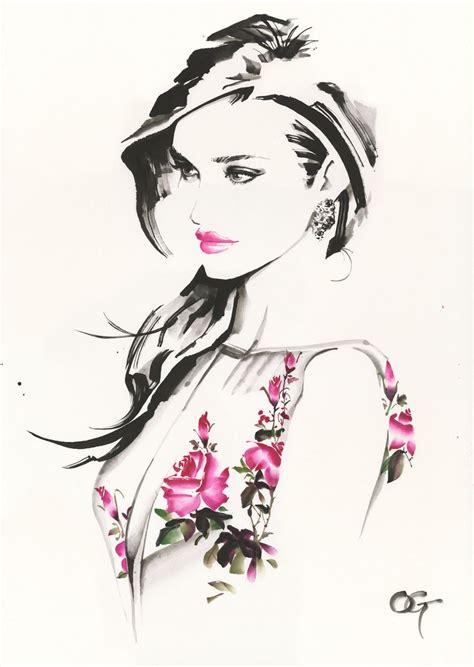 fashion illustration gouache rosiehuntington whiteley ohgushi fashion illustration cosmetic portrait painting