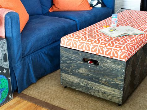Make A Herringbone Wood Toy Box Storage Ottoman Hgtv Make Storage Ottoman