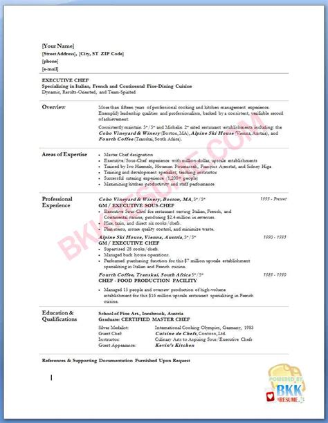 executive chef resume template resume heading template bakery worker sle resume