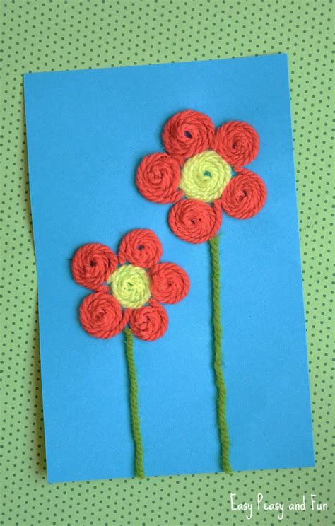 flower and craft for yarn flower craft easy peasy and