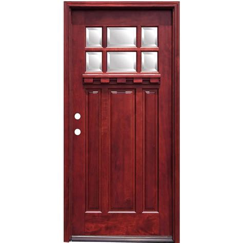 Pacific Entries 36 In X 80 In Craftsman 6 Lite Stained Hardwood Doors Exterior