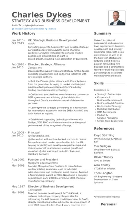 Business Development Resume Sles by D 233 Veloppement Des Affaires Exemple De Cv Base De Donn 233 Es Des Cv De Visualcv