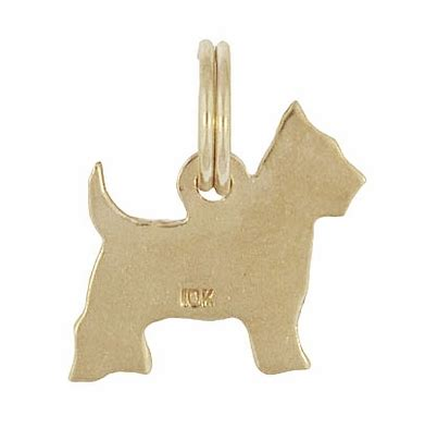 gold yorkie charm vintage yorkie charm in 10 karat yellow gold terrier charm
