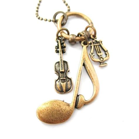 Bracelet Bronze Mini Cello Gelang quaver note violin and musical notes shaped charm necklace in bronze