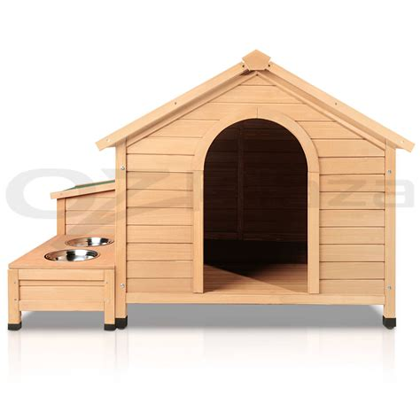 large wooden dog house extra large pet dog timber house wooden kennel wood cabin log storage box bowls ebay