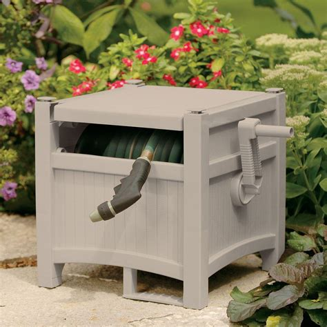 ft garden water hose reel hideaway outdoor heavy duty