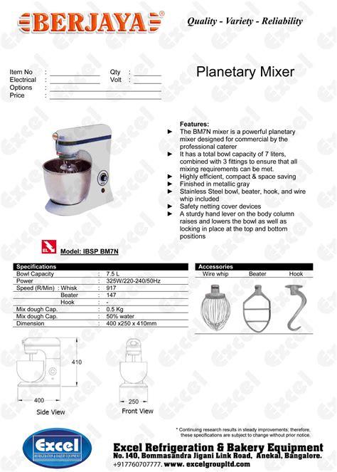 Mixer Berjaya 7 Liter berjaya planetary mixer bm7n excel refrigeration