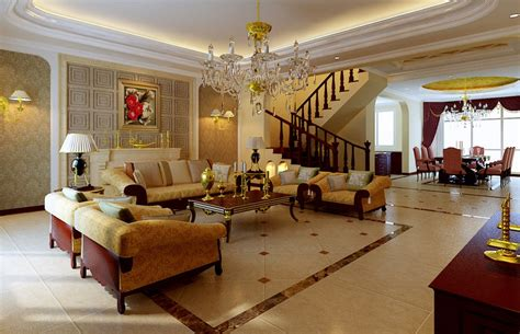 golden design for luxury villa interior 3d house free