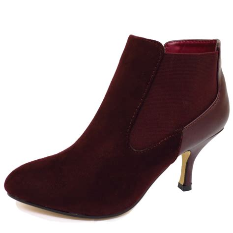 plum wine low kitten heel elasticated chelsea ankle
