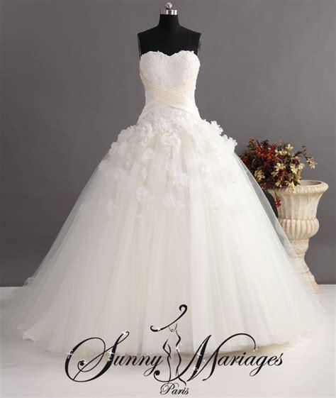 Robe Tulle Mariage - robe de mariee princesse en tulle et bustier brod 233