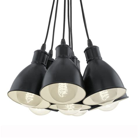 eglo pendant light eglo 49467 priddy 1 seven drop cluster pendant light in black