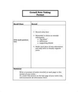 Note Taking Template by Doc 585680 Cornell Note Taking Template Cornell Notes