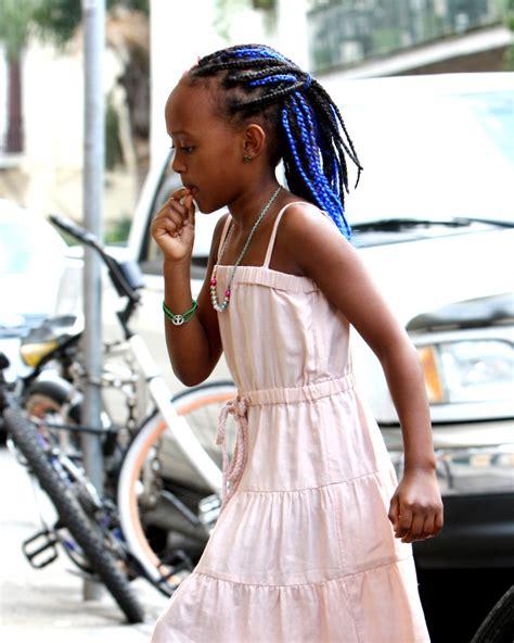 new orleans braid styles zahara jolie pitt gets blue hair extensions photo huffpost