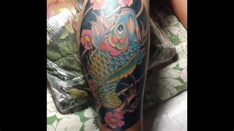 tattoo pez koi pierna pez koi en pierna youtube