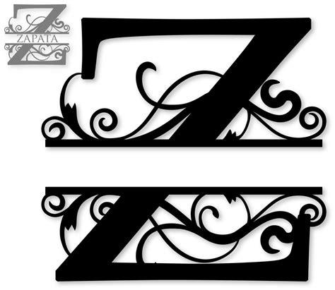 Flourished Split Monogram Z Monogram Letters Template