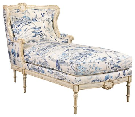 Indoor Upholstered Chaise Lounge Bayonne Country Blue Geisha Upholstered Chaise Lounge Traditional Indoor Chaise