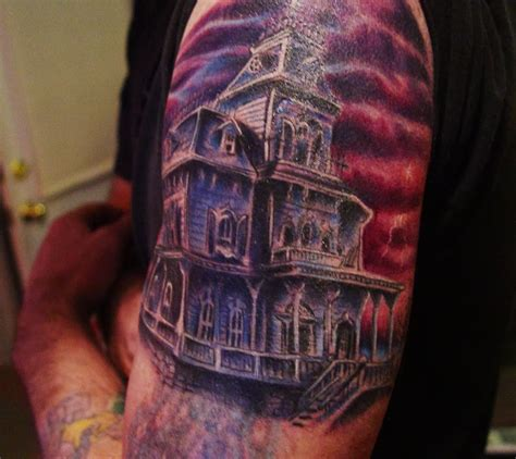liz adeles spooky art haunted mansion tattoo for kev
