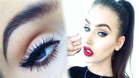 natural makeup tutorial with red lips fall makeup tutorial winged eyeliner and vy red ombre