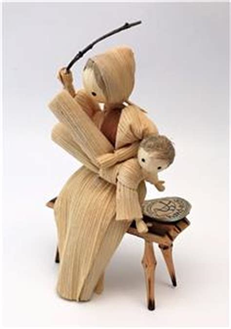 spanked on bench vintage corn husk doll figurine spanking child on bench new old stock w tag
