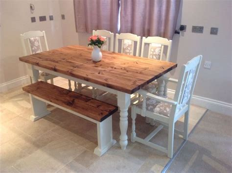shabby chic rustic farmhouse solid 8 seater dining table bench and 6 oak chairs kitchen