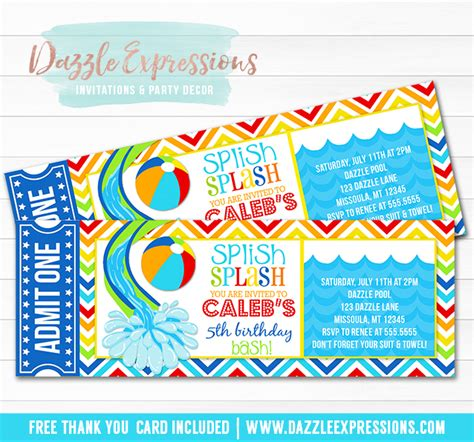 free printable thank you cards swimming printable pool party ticket birthday invitation water