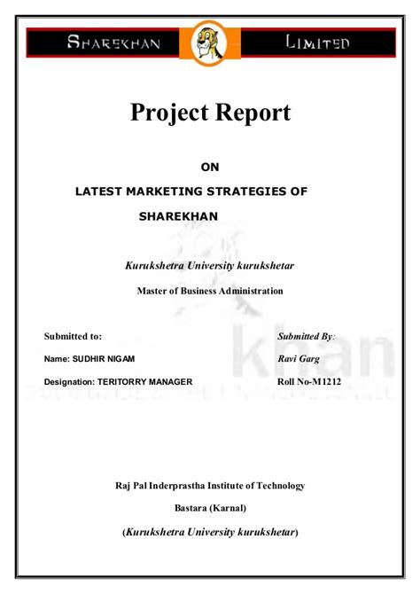 Corporate Strategy Mba Intern by Summer Intenship Project On Marketing Strategy Adopted By