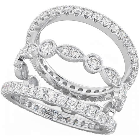 eternity engagement and wedding ring sets 925 sterling silver unique 3 eternity wedding ring set
