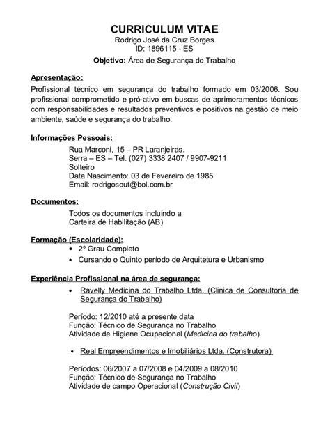 Modelo De Curriculum Vitae Tecnico Radiologo curriculo rodrigo tst