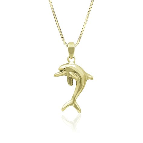 14k Gold Dolphin Pendant playful dolphin charm pendant in 14k yellow gold
