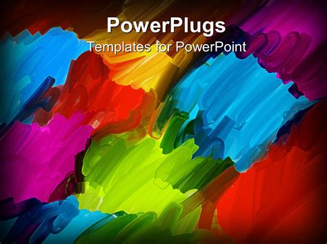 Powerpoint Template Abstract Oil Brush Art Background In Blue Red Orange Purple Green 7723 Artistic Powerpoint Templates