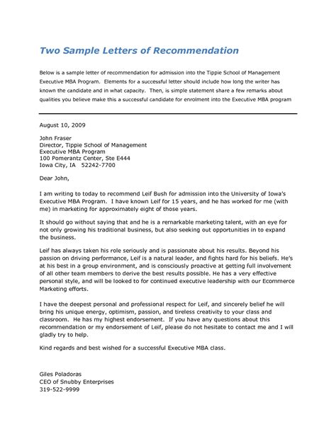 What Should A College Letter Of Recommendation Look Like sle mba recommendation letter cover letter database