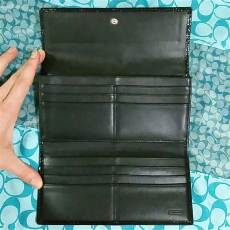 83 coach clutches wallets authentic coach tri fold wallet black monogram from s