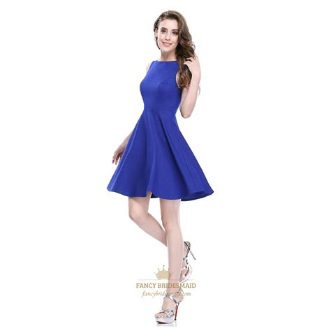 Dress Fit L Pl royal blue sleeveless scoop neck fit and flare skater dress fancy bridesmaid dresses
