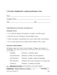 professional development evaluation form template executive administrative assistant performance appraisal