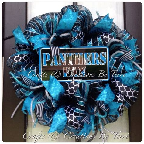 Carolina Panthers Decorations by Deco Mesh Wreath Carolina Panthers Football Door Decor