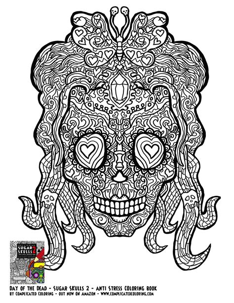 Day Of The Dead Sugar Skulls 2 Complicated Coloring Free Sugar Skull Coloring Pages For Adults Free