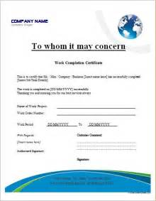 project completion certificate template work completion certificate templates for ms word word