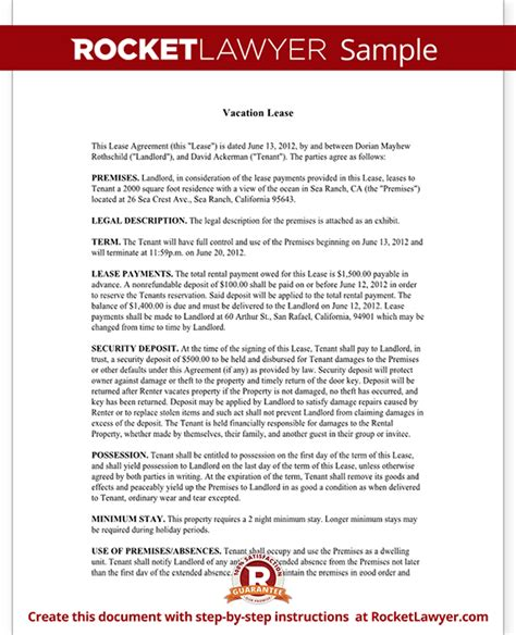 Short Term Rental Lease Vacation Lease Agreement Template Vacation Rental Contract Template