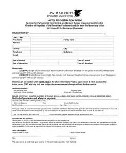 hotel registration form template 9 sle hotel registration forms sle forms