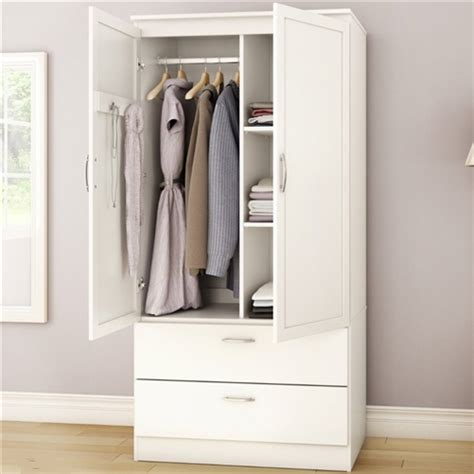 Clothes Armoire With Drawers White Armoire Bedroom Clothes Storage Wardrobe Cabinet