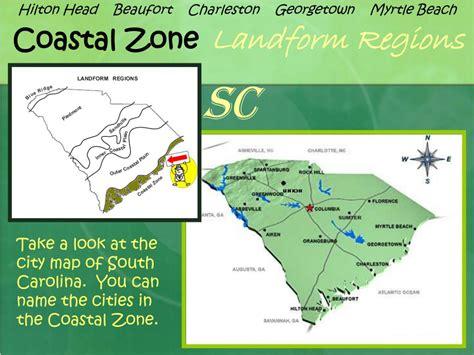 carolina coastal towns map ppt south carolina landform regions and facts about